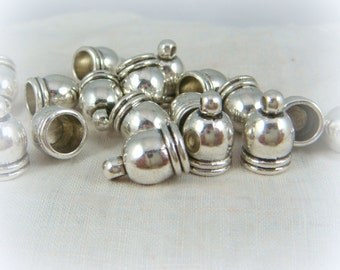 Tibetan Silver Cord Ends - Antiqued Silver End Caps - Glue in Cord End Caps (4736AS) - 12x7mm (6mm hole) - Select Qty.