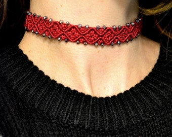 Choker Collar - Red choker - Choker Necklace- Choker Beaded - Crystal choker - Choker Necklaces for women - Gift for her - Boho jewelry