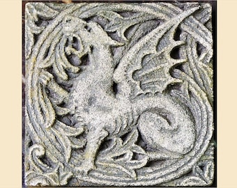 The Vined Dragon Tile - Victorian Gothic Stone Carving - Cast stone sculpture