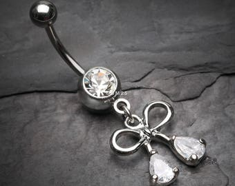 Bow-Tie Sparkle Dangle Belly Button Ring