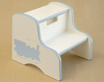 choo choo train hand painted step stool