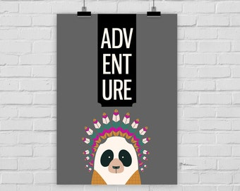 fine-art print poster ADVENTURE panda indian illustration
