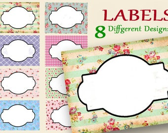 Floral Labels, Digital Food Labels, Tea Party Labels, Printable Gift Tags, Flower Frames, Place Cards, Name Tags, Craft Supplies, Pantry
