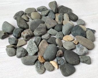 Beach Rocks Small Smooth Pebbles Pebble Art Craft Stone Coastal Wedding Sea Stones Flat Rock Craft Pebbles -  60 Small Beach Rocks  (R)