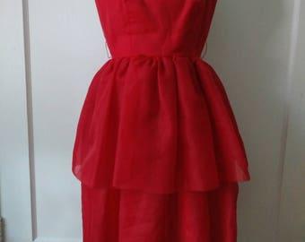 1950s Bonwit Teller Red Chiffon Party Dress