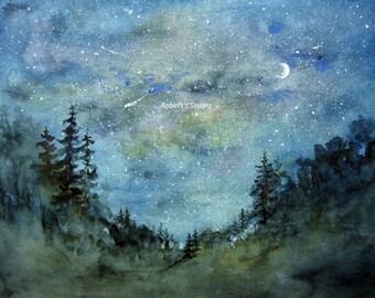 Fine Art Print of original watercolor painting, watercolor landscape, forest painting, woodland painting, night sky watercolor.
