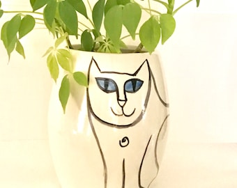 Cat Cookie Jar - Made To Order -treat jar kitty lover theme hand painted pet  decor gift earthenware lidded vessel vetinary decor pet urn