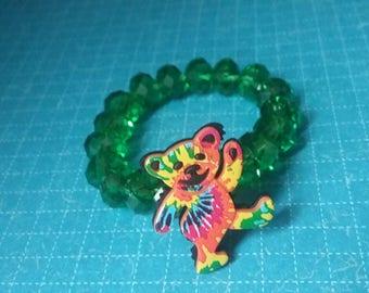 Dead Bear The Grateful Dead Toddler Bracelet Tie Dye Dancing Bear Stretch Bracelet for Kids Children's Jewelry