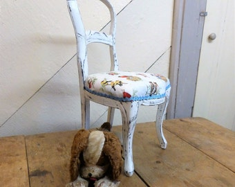 Miniature Chair Upholstered in pretty Bird fabric (stock #6315)