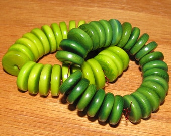 25 Lime Green Tagua Nut Beads, 11mm Rondelle Beads, FD, EcoBeads, Natural Beads, Organic Beads, Vegetable Ivory Beads