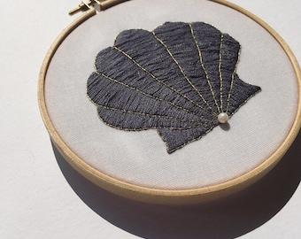 Clam Shell Embroidery Hoop Art, Mermaid Ocean Fibre Art, Textile Art, Wall Art