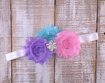 Baby Headband, Infant Headband, Girls Headband, Shabby Chic Pink Lavender Blue Headband, Easter Headband, Spring Headband