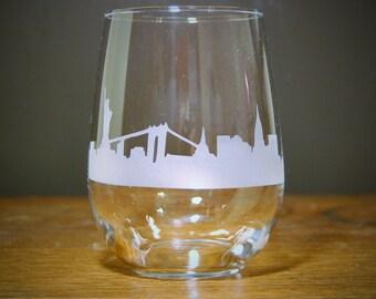 New York City Skyline Stemless Wine Glass