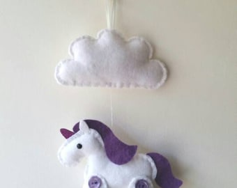 Felt Unicorn Plush with glittery horn and Cloud Wall Hanging