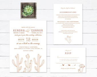 Desert Wedding Invitation, Succulent Wedding Invitation, Cactus Wedding Invitation, Desert Formal Invitation, PRINTABLE Desert Invitation