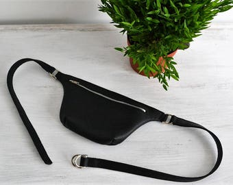 LEATHER FANNY Pack, Leather Waist Bag, Fanny Pack Leather, Hip Bag, Leather Pouch,  Belt bag, Black Fanny Pack, Leather Woman Bag - TOKYO -