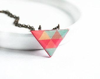 Triangle necklace geometric jewelry triangle pendant red