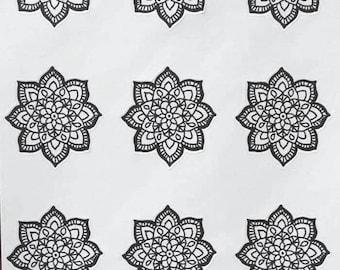 Mandala Stickers, Bullet Journal Sticker,  Bujo Sticker, Planner Sticker, Hand Drawn, Planner Accessories, Adult Coloring, Stress Relief