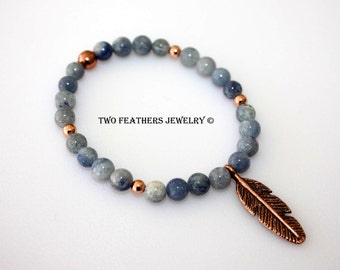 Blue Aventurine Bracelet - Copper Feather Bracelet - Natural Blue Stone - Stacking Stretch Bracelet - Feather Jewelry - Two Feathers Jewelry