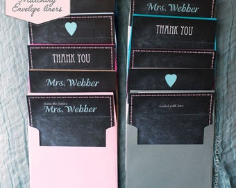Printed Matching Envelope Liner   A2 Sized Liner   Thank You Card   Chalkboard Theme Envelope Liner   Personalized   Custom   Stationery Set