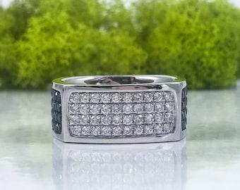 SALE!! Mens 1.78CT 14K White Gold Natural Black & White Diamond Square Mans Ring