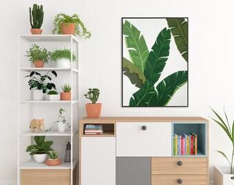 Art CANVAS painting Realism Acryl Wall Art canvas art Abstract Banana Leaf botanical