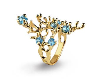 REEF 14k Gold Blue Topaz Ring, Gold Blue Topaz Engagement Ring, Organic Gold Ring, Gold Statement Ring, Gold Gemstone Ring