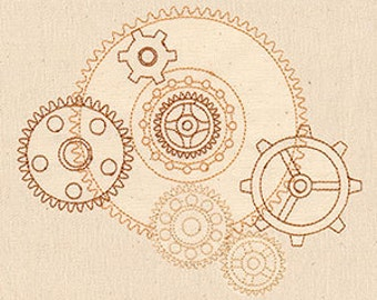 Intrepid Journey Wheels of Progress Cogs n Gears Steampunk Embroidered Flour Sack Hand/Dish Towel
