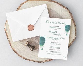Bridal Shower Invitation / Love is in the air / Hot air balloons / hearts / Bridal Shower / Wedding Shower / blue / teal / Digital / DIY