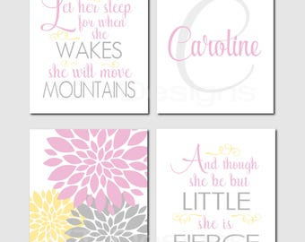 Girl Nursery, Big Girl Room, Pink Gray Yellow, Toddler Girl Room, Let Her Sleep, And though she be but little, Set of 4 Prints or Canvas