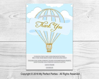 DIGITAL DOWNLOAD - Personalised Blue Hot Air Balloon Children's Birthday Party Thank You Card  - PRINTABLE