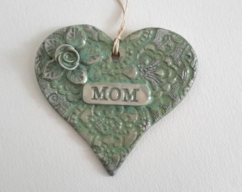 Personalized Pottery Ornament - MOM heart ornament  - Turquoise Heart Valentine wall hanging - Ceramic Heart Ornament with Rose