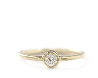 Engagement Diamond Simple Ring,Delicate Engagement Ring, 0.15 Carat Diamond, Round Cut Diamond Ring