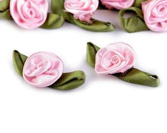 10 Satin Rose with Petals 15x30 mm