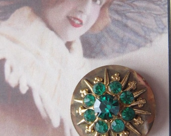 Vintage ART DECO Brooch With Emerald Rhinestones - BR-439 - Green Rhinestone Brooch - Rhinestones Brooch - Rhinestone Pin - Green Pin