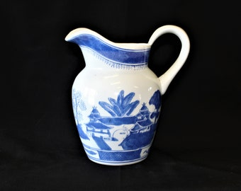 Vintage Beautiful Hand Painted Porcelain Cantonese Milk Jug/Pitcher, Cobalt Blue & White Pagodas, Trees, Willow, Village Scenes