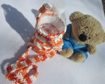Water Bottle Holder Orange and White, 16.9 to 20 Ounce Water Bottle Carrier, Crochet Cotton Over the Shoulder Bottle Cozie, Exercise Helper
