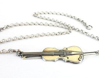 Steampunk Violin Necklace Sideways Violin Necklace Sterling Silver Ox Finish