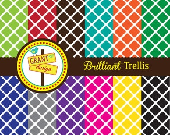 Brilliant Trellis Digital Papers - Backgrounds for Invitations, Card Design, Scrapbooking, and Web Design