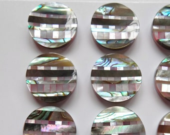 Intarsia Dyed Pink Mother of Pearl Paua Abalone Curved 16 mm Button One Pair J4106