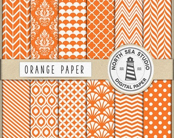Orange Digital Paper Pack | Scrapbook Paper | Printable Backgrounds | 12 JPG, 300dpi Files | BUY5FOR8