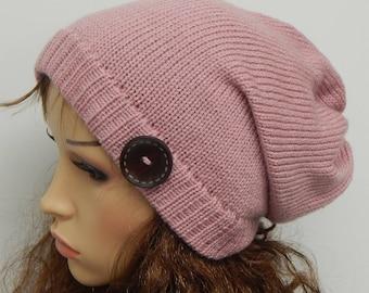 Knit hat, women's slouch hat, winter bonnet, knitted beanie, winter slouchy hat, womens slouch hats, gift idea, hat with button, CHOOSE SIZE
