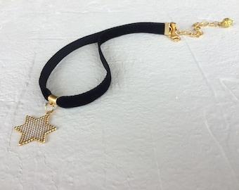 Black Velvet Choker, Star Pendant, Black Choker Necklace, Miyuki Jewelry, Gift for Women, Gothic Necklace, Birthday Gift, Women Gift
