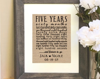 ON SALE Anniversary Gift 5th Five Year Anniversary Gift For Husband For Wife  Print months weeks days hours minutes seconds