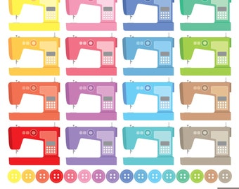 Sewing Machines Digital Clipart, Buttons Clipart