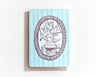 Happy Birthday Cupcake! - Blank Bday Greeting Card