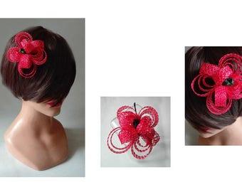 broche cheveux fleur, fascinator rouge, pince cheveux mariage, barrette cérémonie, petit bibi chapeau femme