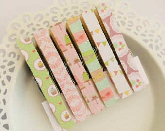 Magnetic Clothespin Pegs Magnets - Tea Party Mix - Fridge Magnet Set - Decorated Clothespins Peg