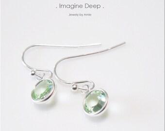 Light Seafoam Green Crystal Earrings Sterling Silver Light Mint Green Swarovski Crystal Dangle Earrings - 30% off SPECIAL