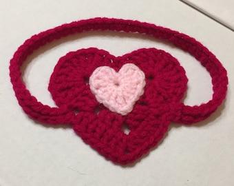 Crochet Heart Headband, Valentine Headband, Red Headband, Sz 18-24 mo